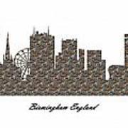 Birmingham England 3d Stone Wall Skyline Poster