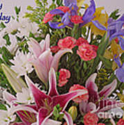Birthday Bouquet Card Poster