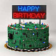 Birthday Cake For Geeks Poster