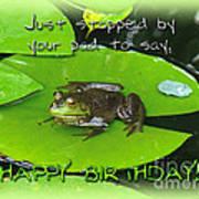 Birthday Greeting Card - Bullfrog On Lily Pad Poster