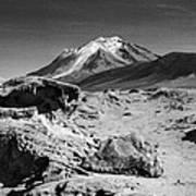Bizarre Landscape Bolivia Black And White Poster