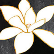 Black And Gold Magnolia- Floral Art Poster