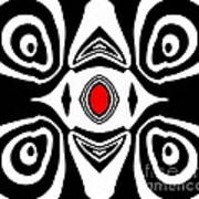 Abstract Black White Red Art No.213 Poster