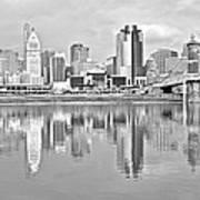 Black And White Cincinnati Panoramic Poster