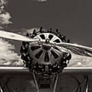 Black And White Close-up Of Airplane Engine Poster