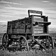 Black And White Covered Wagon Poster