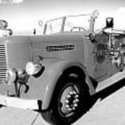 Black And White Fire Truck Poster