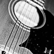 Black And White Harmony Guitar Poster