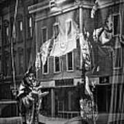 Black And White Photograph Of A Mannequin In Lingerie In Storefront Window Display  Poster