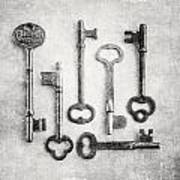 Black And White Photograph Of Vintage Skeleton Keys For Rustic Home Decor Poster
