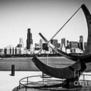 Black And White Picture Of Adler Planetarium Sundial Poster by Paul Velgos