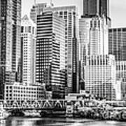 Black And White Picture Of Chicago At Lake Street Bridge Poster