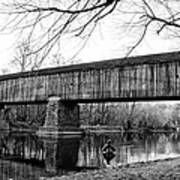Black And White Schofield Ford Covered Bridge Poster