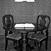 Black And White Sitting Table Poster