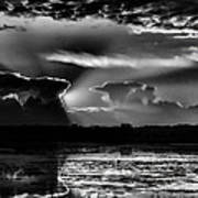 Black And White Sunset Over The Mead Wildlife Area Poster