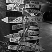 Black And White World Directions Poster