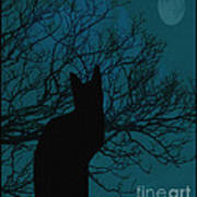 Black Cat In The Moonlight Blue Poster