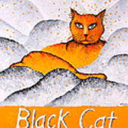 Black Cat Yellow Poster