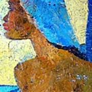 Black Lady With Blue Head-dress Poster