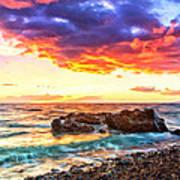 Black Sand Sunset Poster