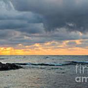 Black Sea Sunrise Before Storm Poster