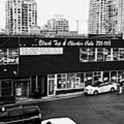 black top and checker cabs office Vancouver BC Canada Poster by Joe Fox