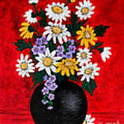 Black Vase With Daisies Poster