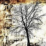 Black White And Sepia Tones Silhouette Tree Painting Poster