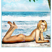 Blonde On Beach Poster