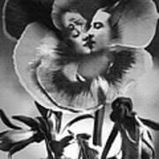 Bloomin' Kiss Vintage Art Bw Poster