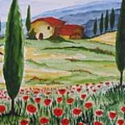 Blooming Poppy In Tuscany Poster