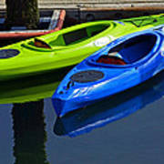 Blue And Green Kayaks Poster