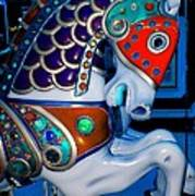 Blue And Red Carousel Horse Poster