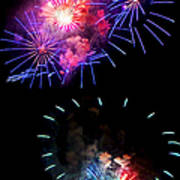 Blue And Red Firework Disks Poster