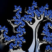 Blue And Silver Fractal Tree Abstract Artwork Poster