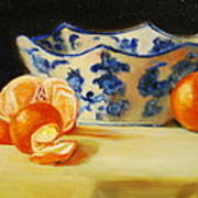 Blue And White Bowl And Tangerines Poster by Ann Simons