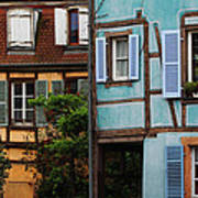 Blue And Yellow Buildings In La Petite Venise In Colmar France Poster