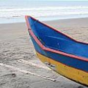 Blue And Yellow Fishing Boat On The Beach Poster