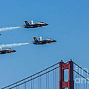 Blue Angels Over The Golden Gate Poster