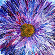 Blue Aster Miniature Painting Poster
