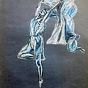 Blue Ballerina Dance Art Poster