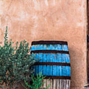 Blue Barrel With Adobe Poster