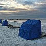 Blue Beach Chairs Poster