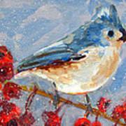 Blue Bird In Winter - Tuft Titmouse Modern Impressionist Art Poster