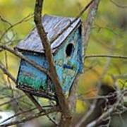 Blue Birdhouse Poster