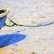 Blue Boat On Mudflat Poster