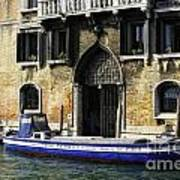 Blue Boat Venice Poster