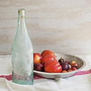 Blue Bottle And Fresh Fruit Poster