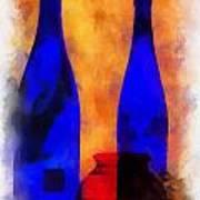 Blue Bottles Photo Art Poster