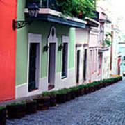 Blue Brick Street Old San Juan Poster